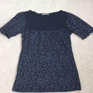 Anthropologie Velvet Navy T-Shirt NWOT